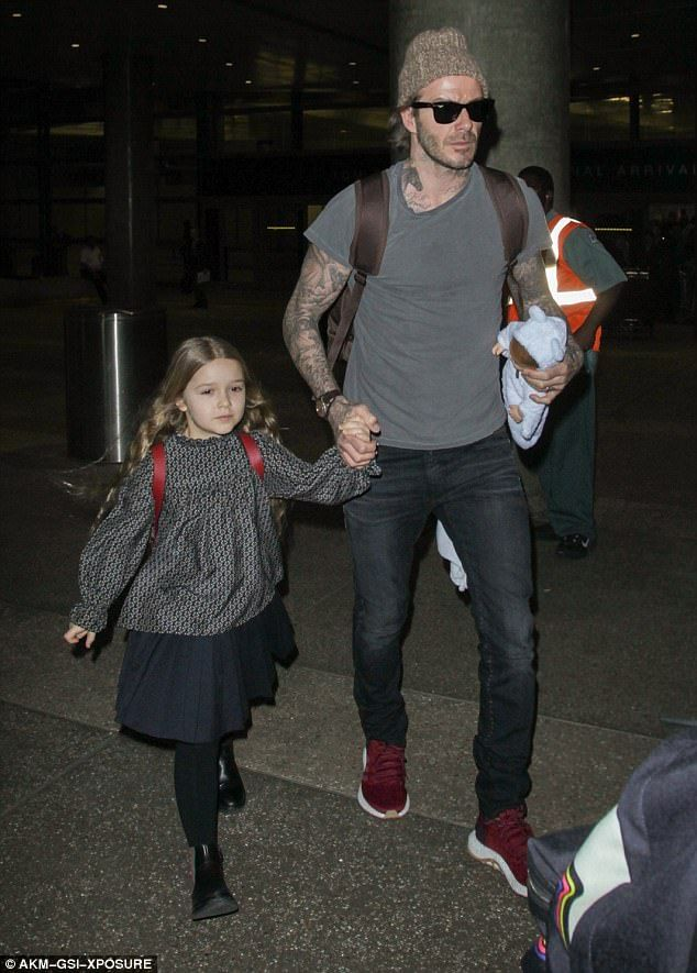 2564fba92 Dad on duty: David Beckham, 41, was focused on his sweet daughter Harper,  5, as he held he.