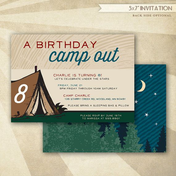 Camping Theme Invitations: Custom Camping Birthday Party