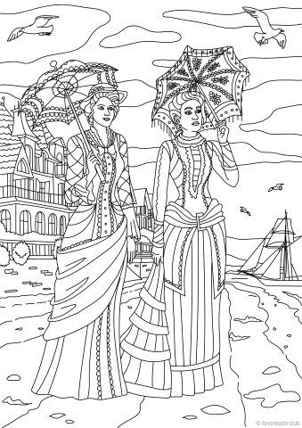 Fashion and Style - Walking by the Sea | Adult coloring ...