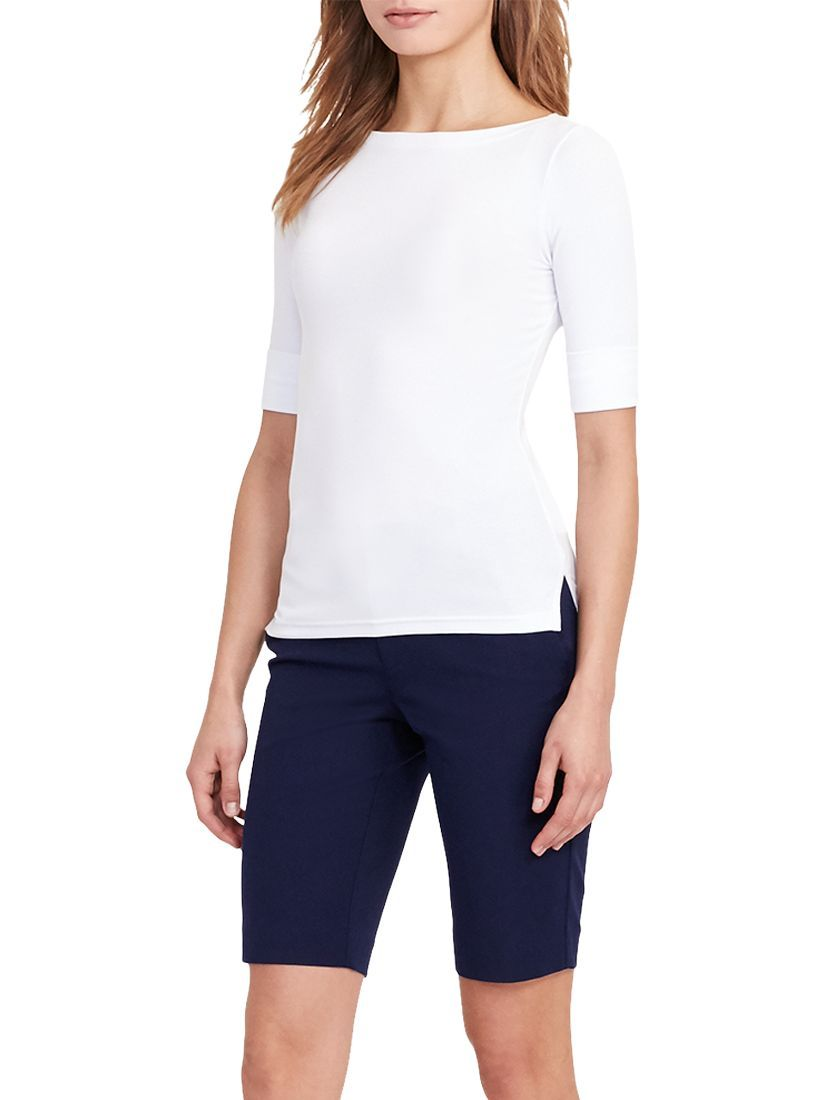 Versatile and effortlessly stylish, this jersey top from Lauren Ralph Lauren will make a shrewd addition to your smart/casual wardrobe. Crafted from a soft cotton-stretch material, this elbow-length design boasts a flattering boat neckline and the brand's signature logo embroidered just above the right hem. Style with tailored trousers and knee high boots for a chic off-duty profile. Size medium has a 25 body length, a 33.5 bust, and an 11.25 sleeve length.