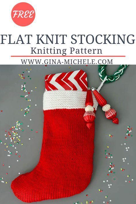 Flat Knit Christmas Stocking Knitting Pattern | Knitted ...