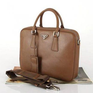 Replica Prada Leather Messenger Tote Briefcase VA0791 Coffee  208 ... f7347393afb54