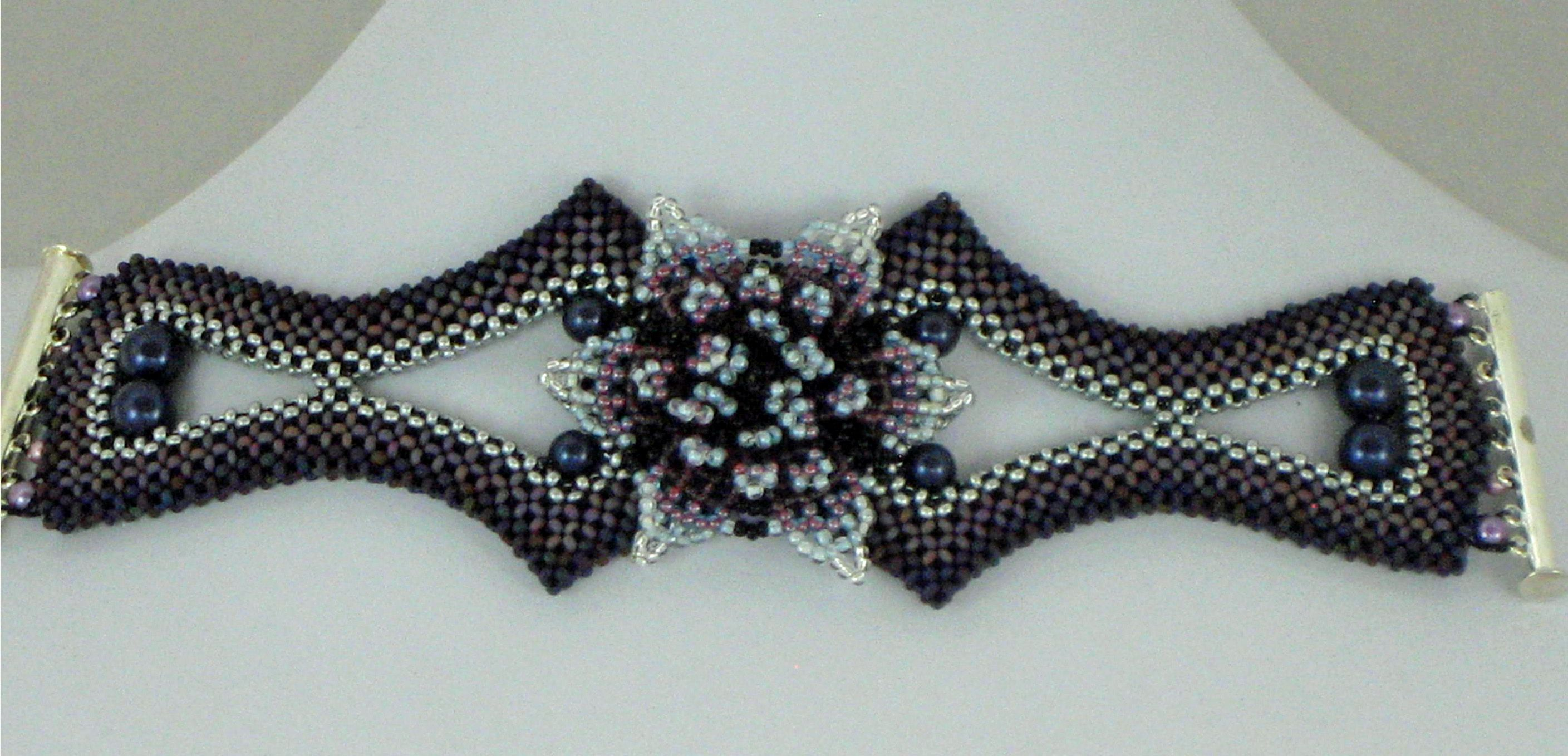 Beaded bracelet by Bonnie Van Hall. GlassWear Art Couture.