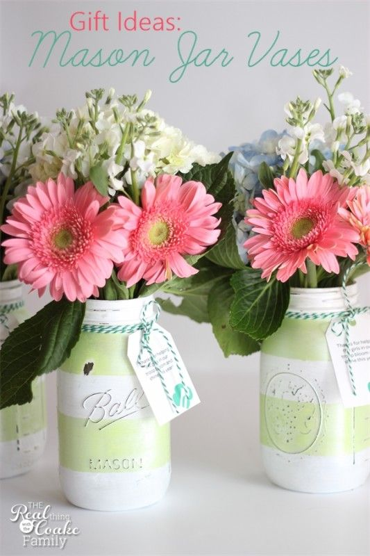 Gift Ideas Make Gorgeous Mason Jar Vases Mason Jar Vases Jar Diy Jar Crafts