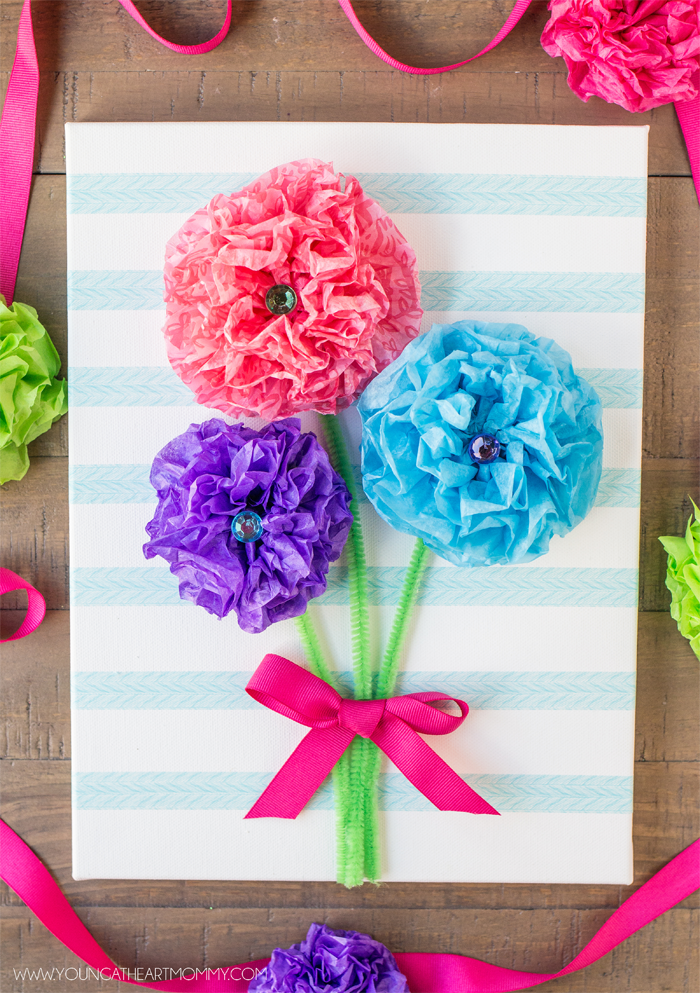 Easy Mothers Day Tissue Paper Flower Canvas Fun Craft For Kids