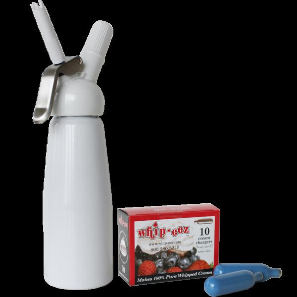 White 1/2 Liter Whip Cream Dispenser w/free 10 pk
