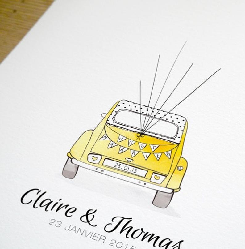 Fingerprints Guest Book 2cv Vintage Car Just Married Karte Hochzeit Gastebuch Hochzeit Frisch Verheiratet Auto