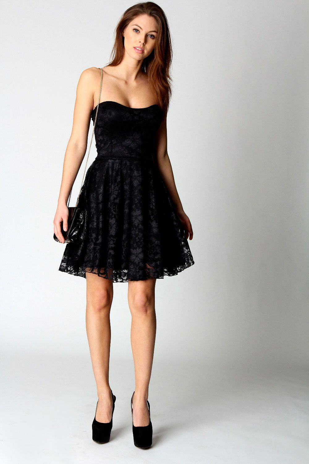 Lulu Lace Bandeau Skater Dress at boohoo.com  e123f9e78