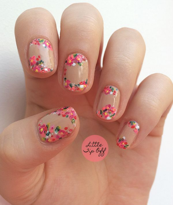 Pink Floral Nail Art Uas Pinterest Nail Art Flowers Uk Nails