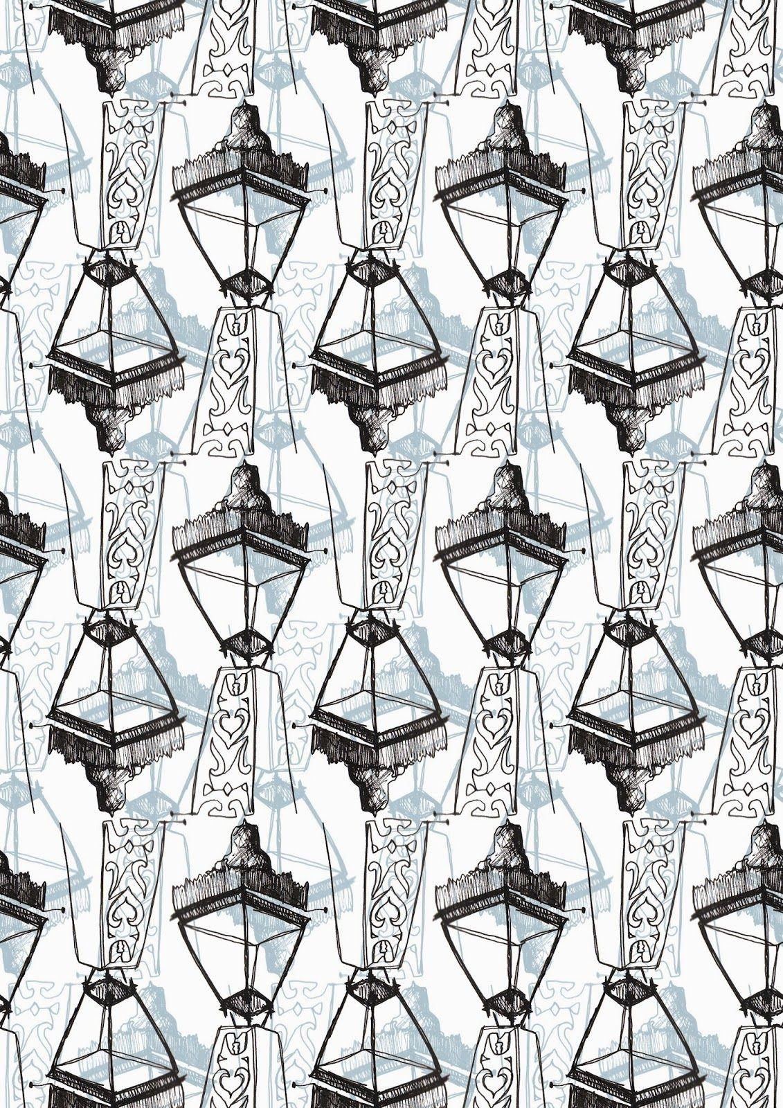 Louise Richardson Surface Design & Textiles. Edinburgh Lanterns in blue