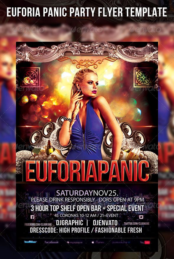 Euforia Panic Party Flyer Template Best Party flyer and Flyer