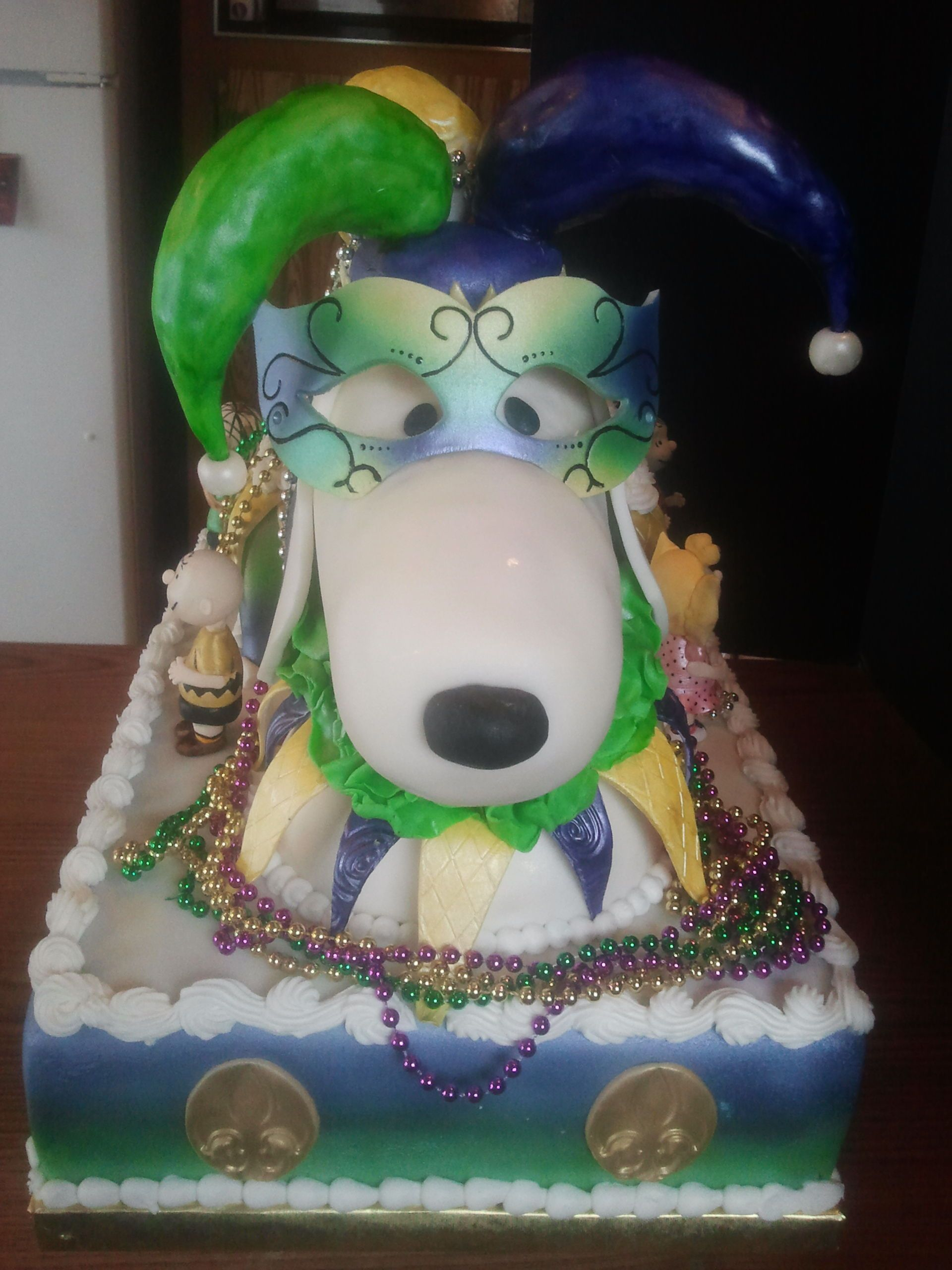 Birthday Cakes Jester Snoopy Is The Head Of The Mardi Gras Float