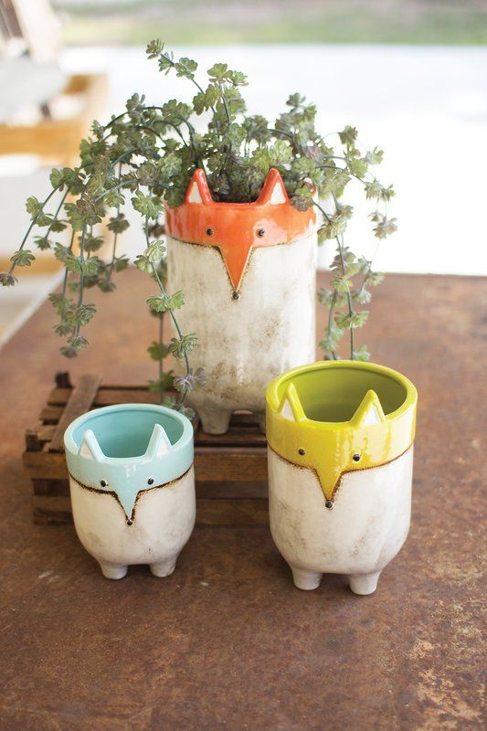 Eichorn Fox 3 Piece Ceramic Pot Planter Set Obviously Find Sale Price Colorful Ceramics Ceramics Projects Pottery Planters