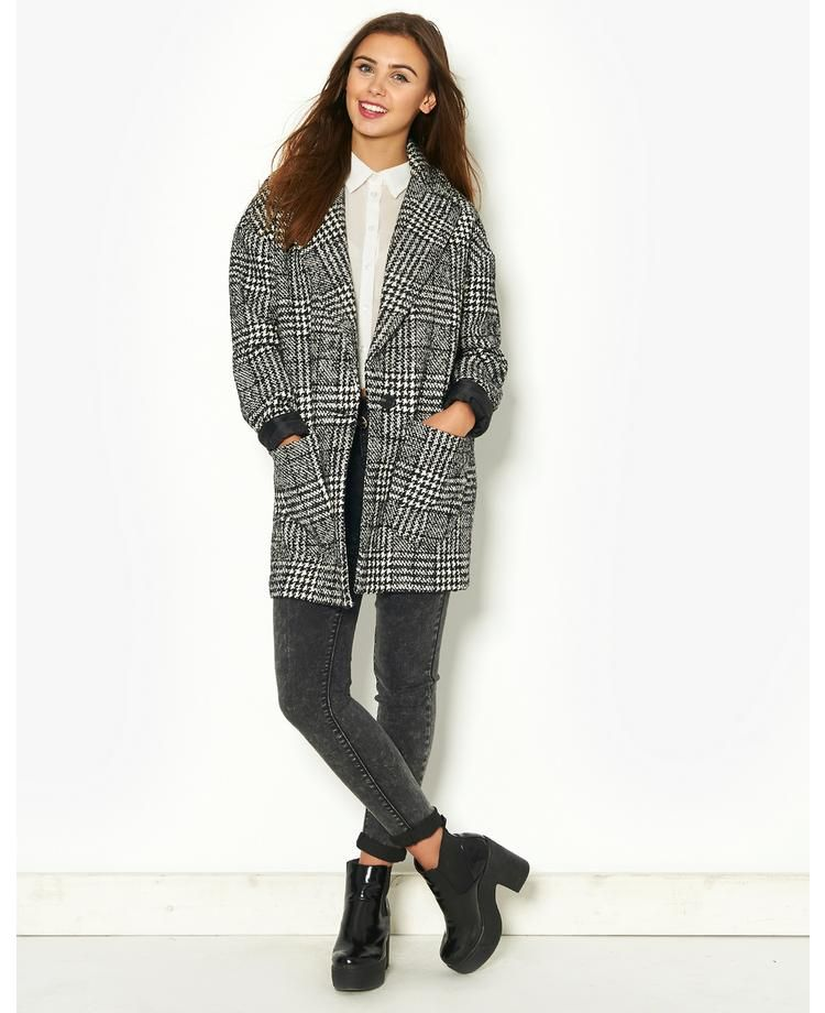 ONLY Dogtooth Wool Coat | BANK Fashion
