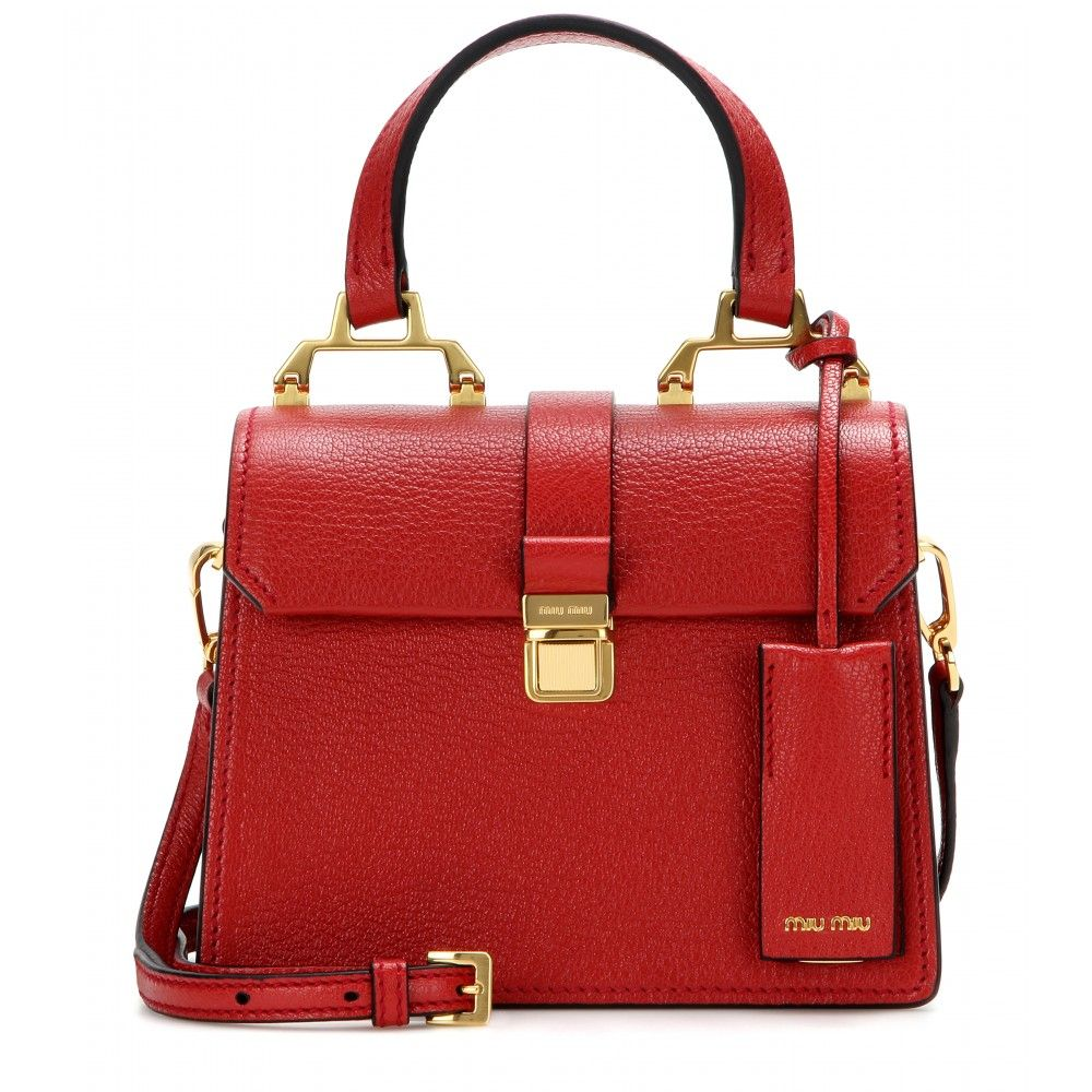 Miu Miu - Leather shoulder bag - We love the stunning gold-tone hardware  set against the red grainy leather of this Miu Miu shoulder bag. 54b9ccbccfff6