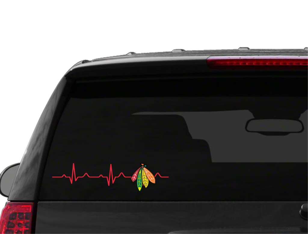 Chicago Blackhawks Heart Beat Decal LOOOOOVE Pinterest Heart - Window stickers for cars chicago