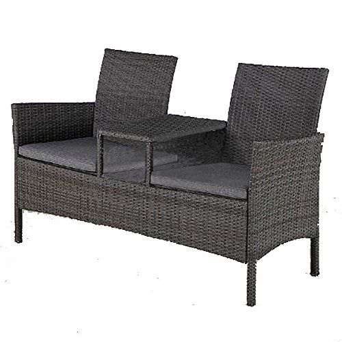 Rattan Garden Two Seater Companion Bench