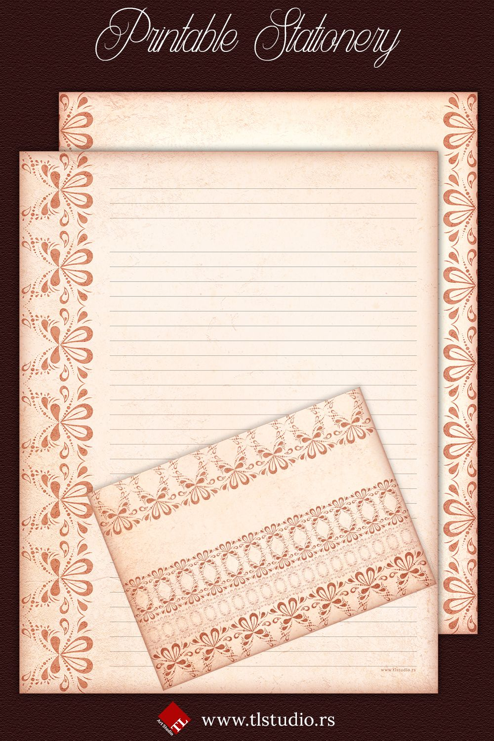 Peach Lace Printable Stationery Set In 2020 Printable Stationery Stationery Set Folded Note Card