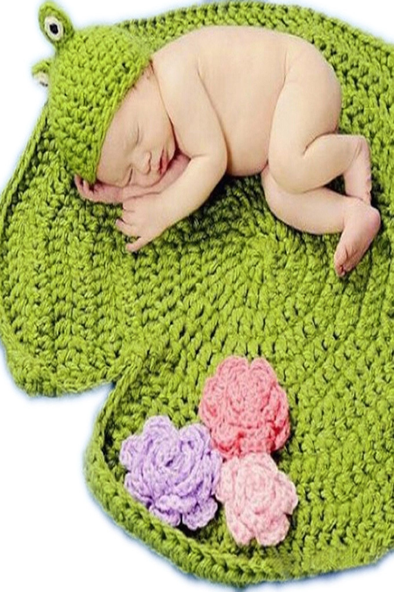 Lotus Lily Pad Frog Crochet Baby Outfit Hat Set - CCFRLO | Häkeln