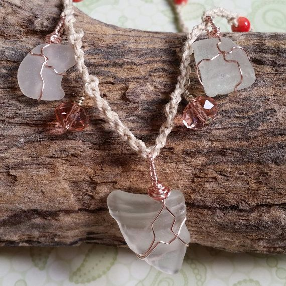 Sea Diva Necklace by Panache808Designs on #Etsy #seaglass #crystals #natural #applestonebeads #rosegold #beach #diva #shopnow
