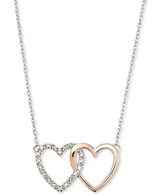 8e000e003 14k White and Rose Gold Necklace, Diamond Accent Double Heart Interlocking  Pendant - Necklaces - Jewelry & Watches - Macy's