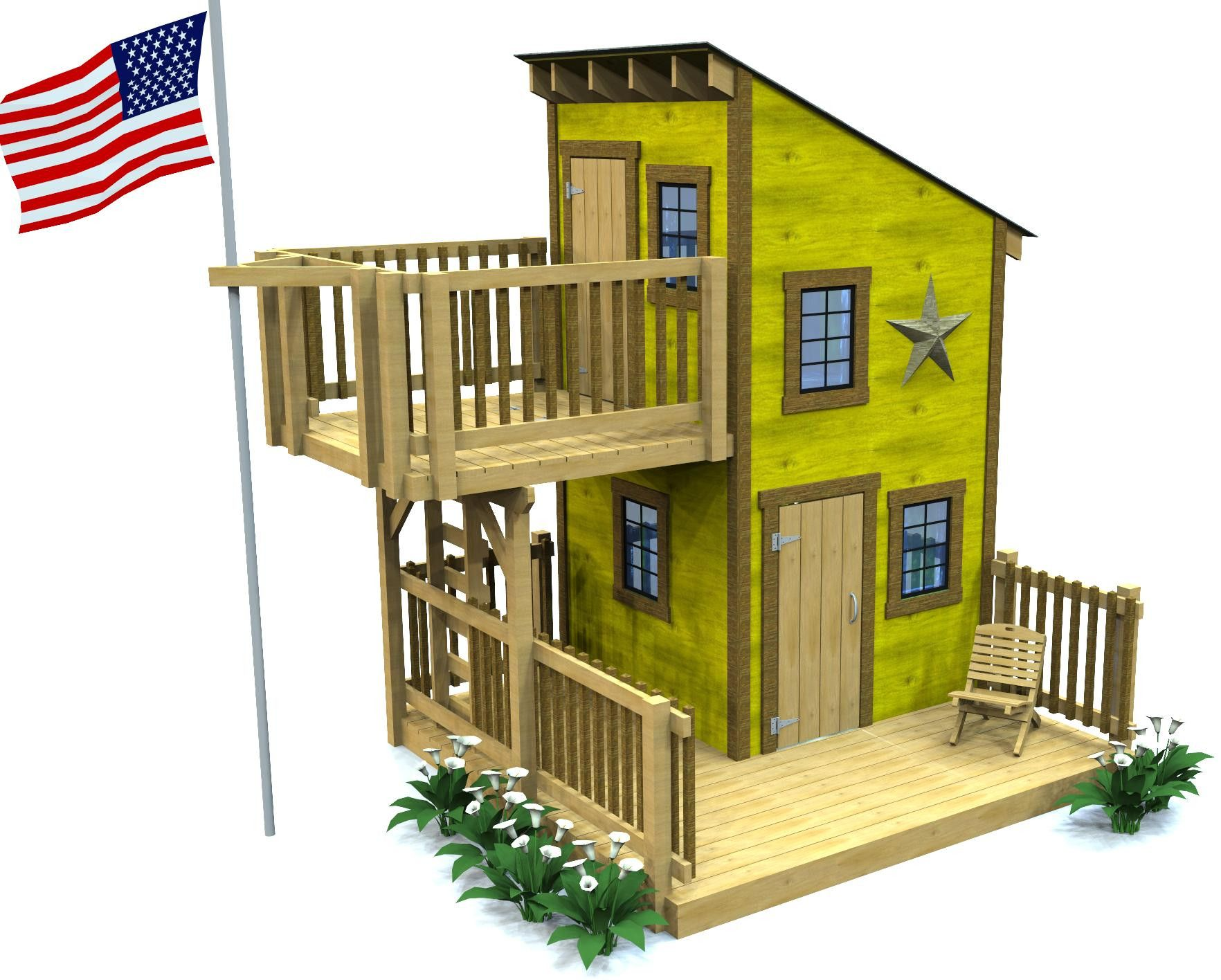 Deluxe loft clubhouse plan playhouses porch and for Blueprints for playhouse