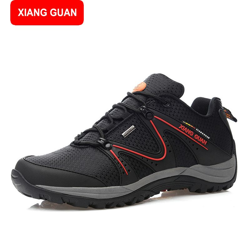 Men's Outdoor Trail Running Sneaker Waterproof Oxford Cloth Upper Nylon Lace -Up Low-Top Hiking Shoes Boot Md Damping Midsole Anti-Bacterial Breathable  ...