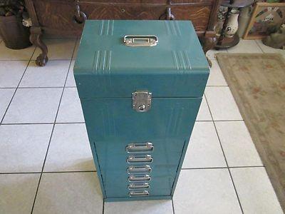 Vintage Acorn Metal File Box Green Mid Century Cabinet