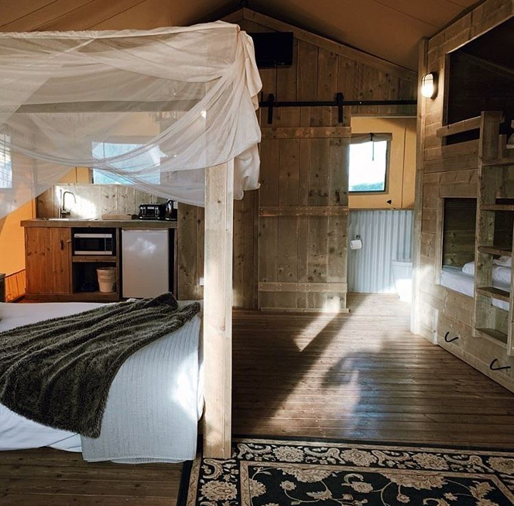 The interior of the Safari Tent offers a pole free space