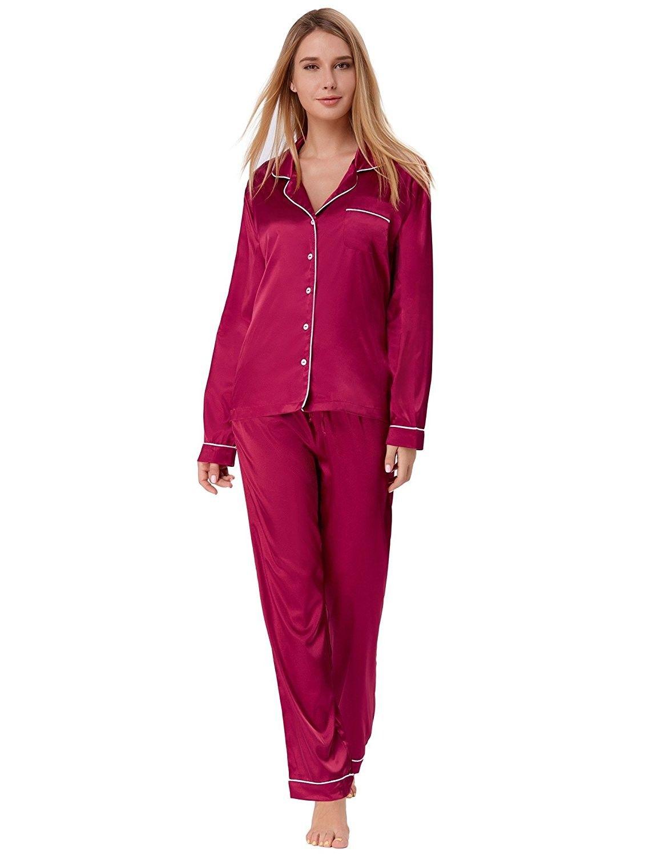 aa66223ce925 Women s Satin Pajama Set Long Button Down Sleepwear With Pants ...