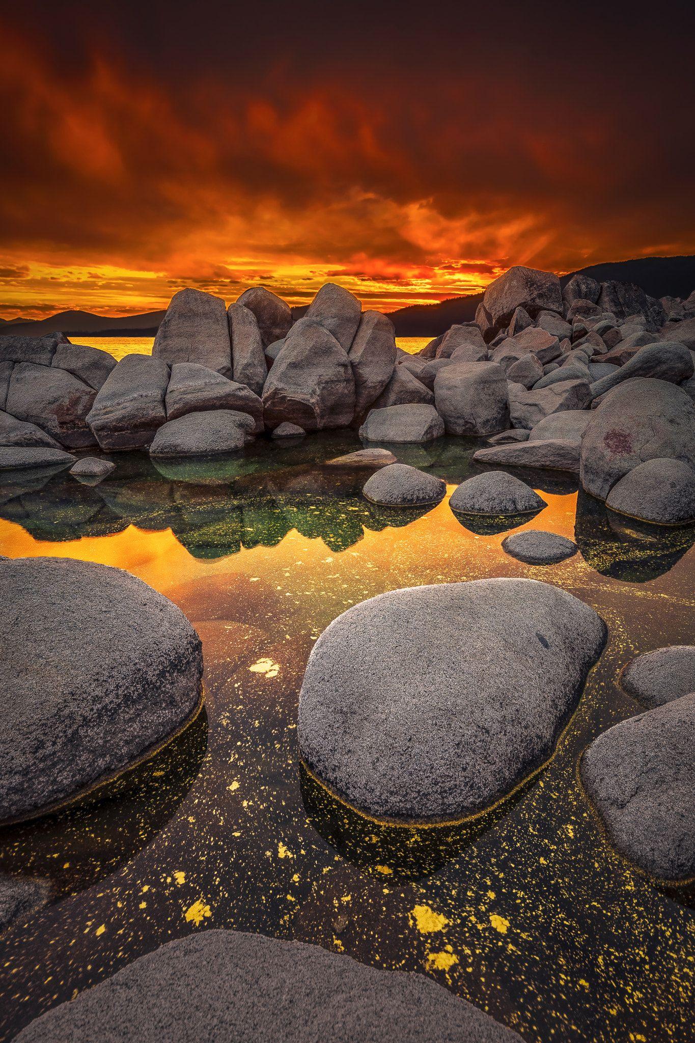 Polychromatic Pollen Floating On Lake Tahoe During Sunset By Dustin Montgomery Lake Sunset Fine Art Landscape Photography Lake