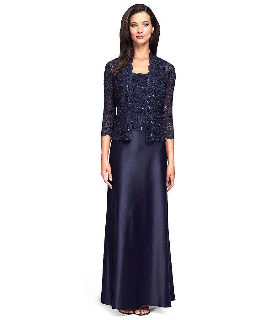 Midnight:Alex Evenings Lace & Charmeuse Jacket Dress | Chelsea's ...