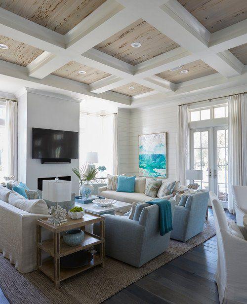 The Perfect Beach House in Coastal Hues #coastallivingrooms