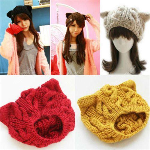 New Women Devil horns Cat Ear Crochet Braided Knit Ski Beanie Wool Hat Cap 0045