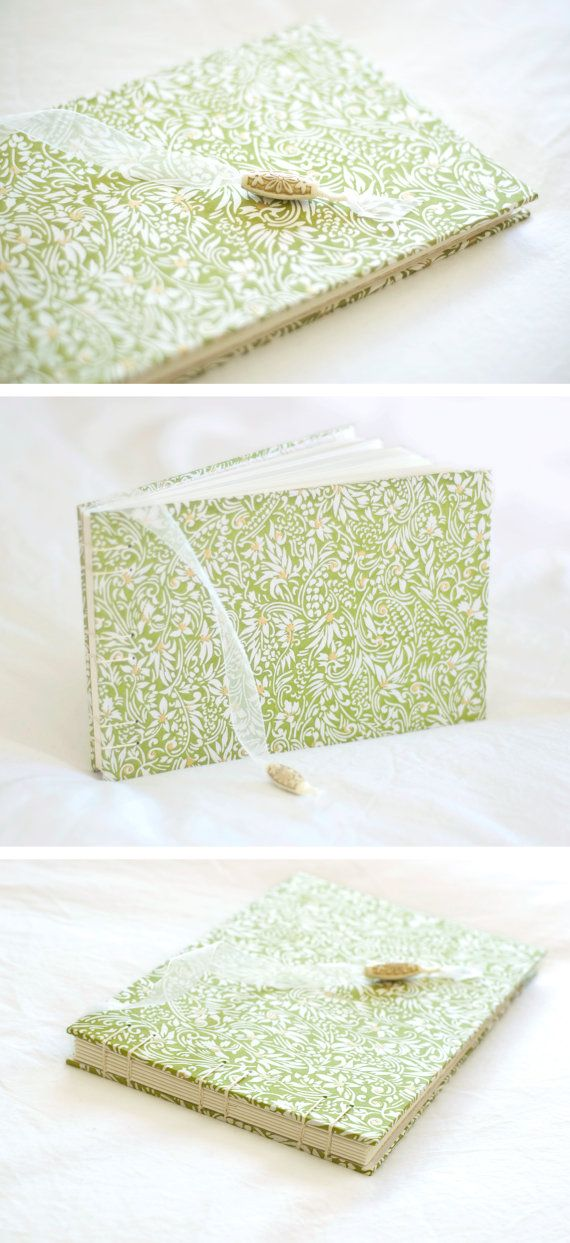 Moss green wedding guest book floral ivory gold whimsical spring by ...