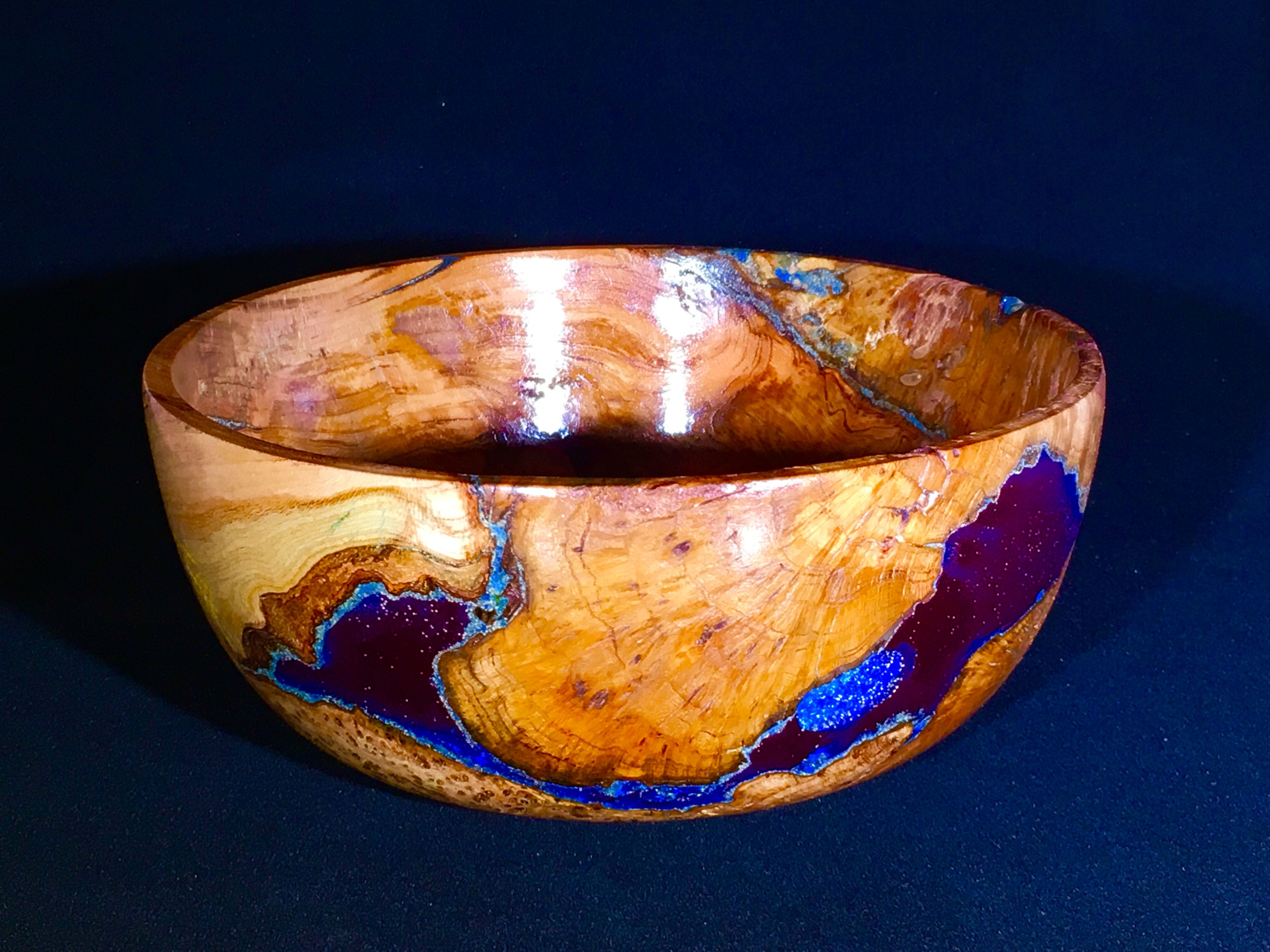 Cherry Burl And Blue Resin Bowl My Woodturning Projects
