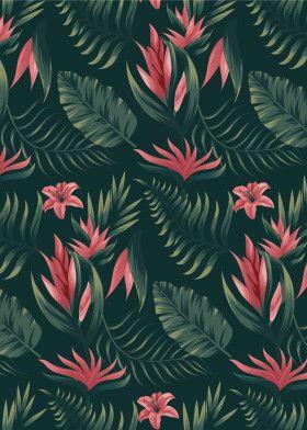 Tropical Leaves Pattern | Displate thumbnail