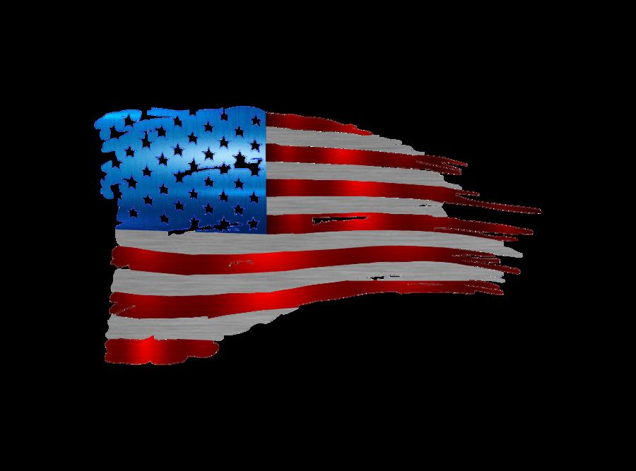 Metal Sign Tattered Flag Metal Flag American Flag Wall Decor Flag