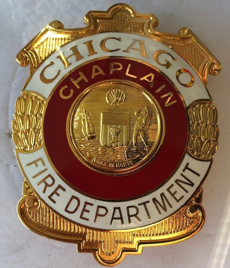 Chaplain chicago fire department fire badge chicago