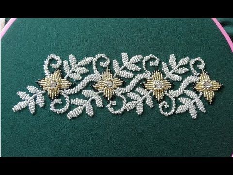 Hand Embroidery Hand Embroidery Designe With Beads Youtube Hand Embroidery Designs Bead Embroidery Patterns Diy Bead Embroidery