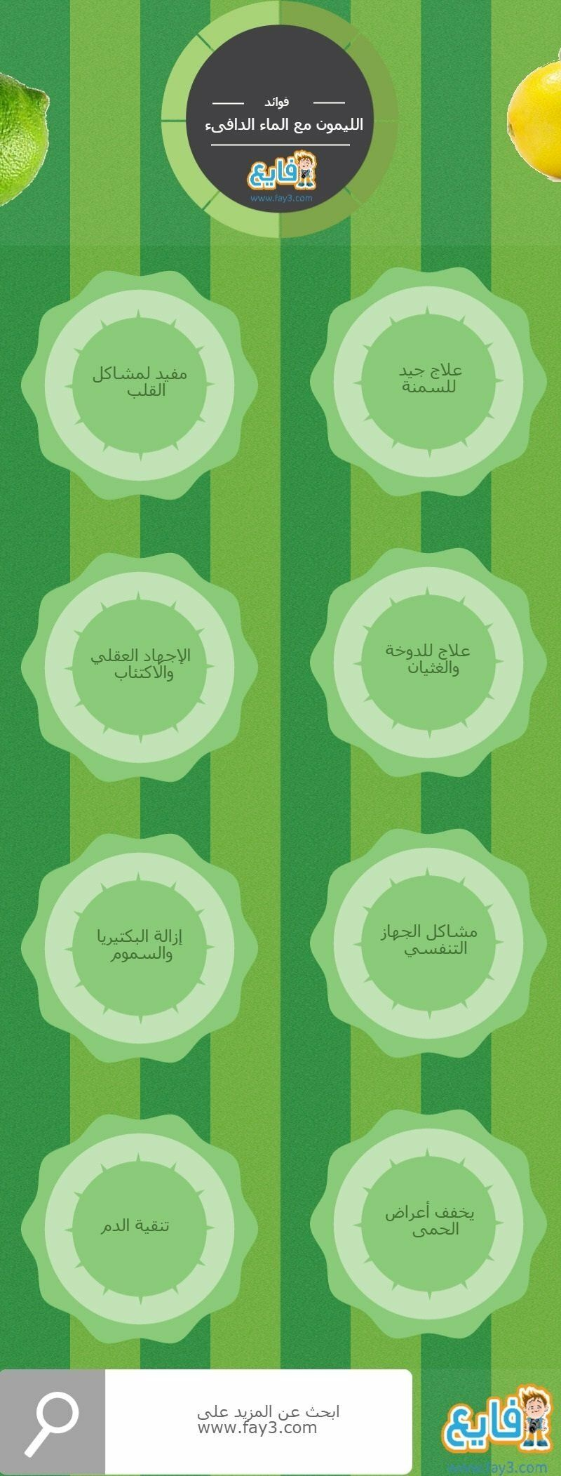 فوائد الليمون مع الماء الدافىء انفوجرافيك صحة تخسيس Health Info Health Infographic