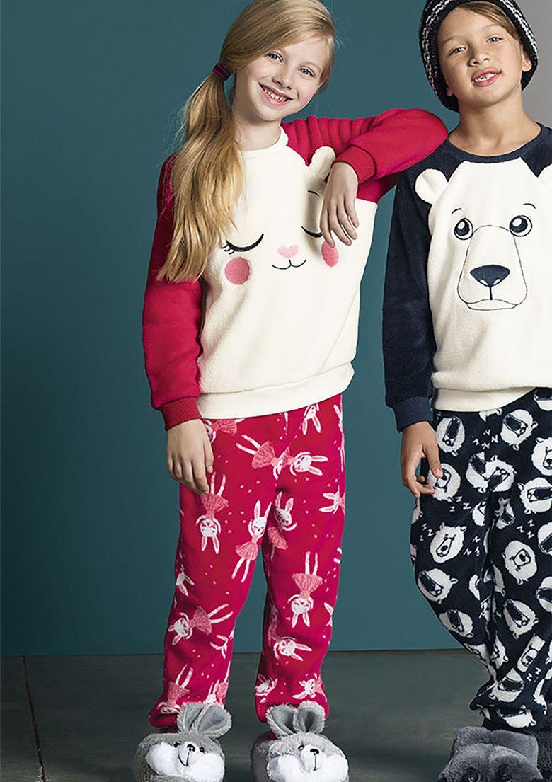 8e97df61efb40a Pijama Infantil Menina Fleece Em Manga Longa Puc | Moda Infantil ...