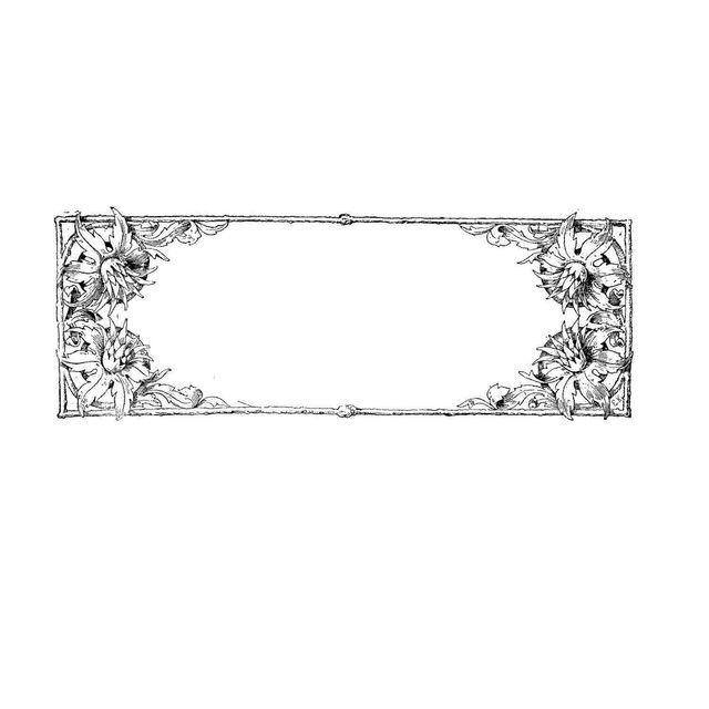 Line detail flower frame square