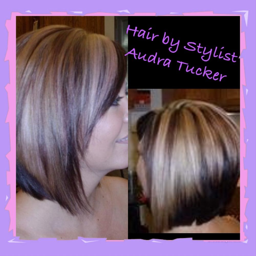 red/violet brown (i call it cherry cola) w blonde. swing bob aka a