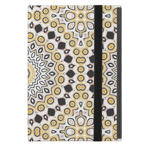 Pink, Black & Yellow Kaleidoscope Flowers Design iPad Mini Cases