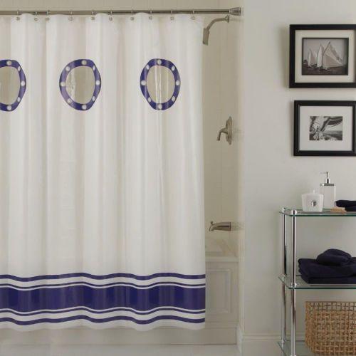 Porthole Nautical Vinyl Shower Curtain W Clear Windows Peva Yacht