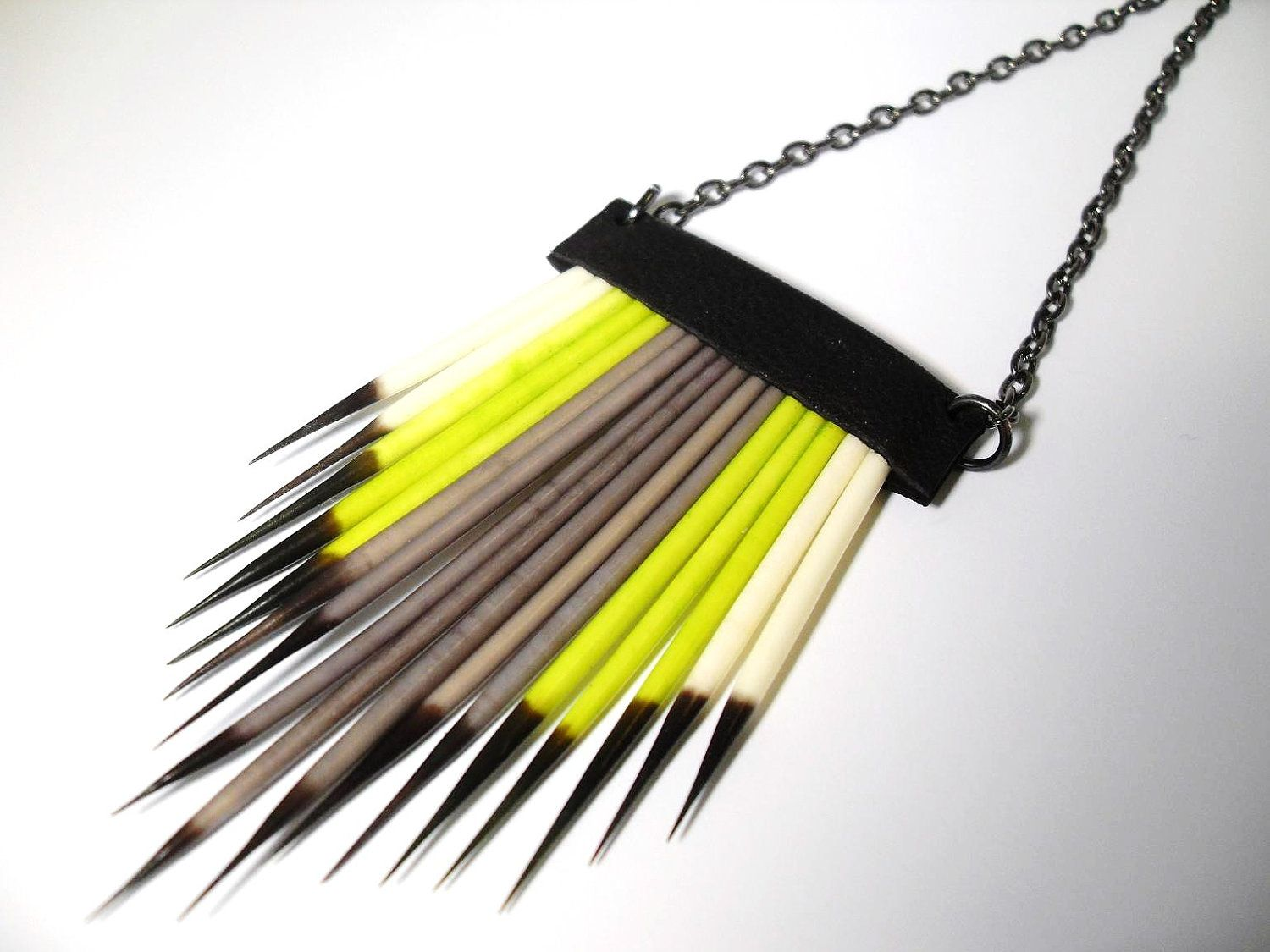 Southwest Porcupine Quill Lime and Grey Necklace. $36.00, via Etsy.