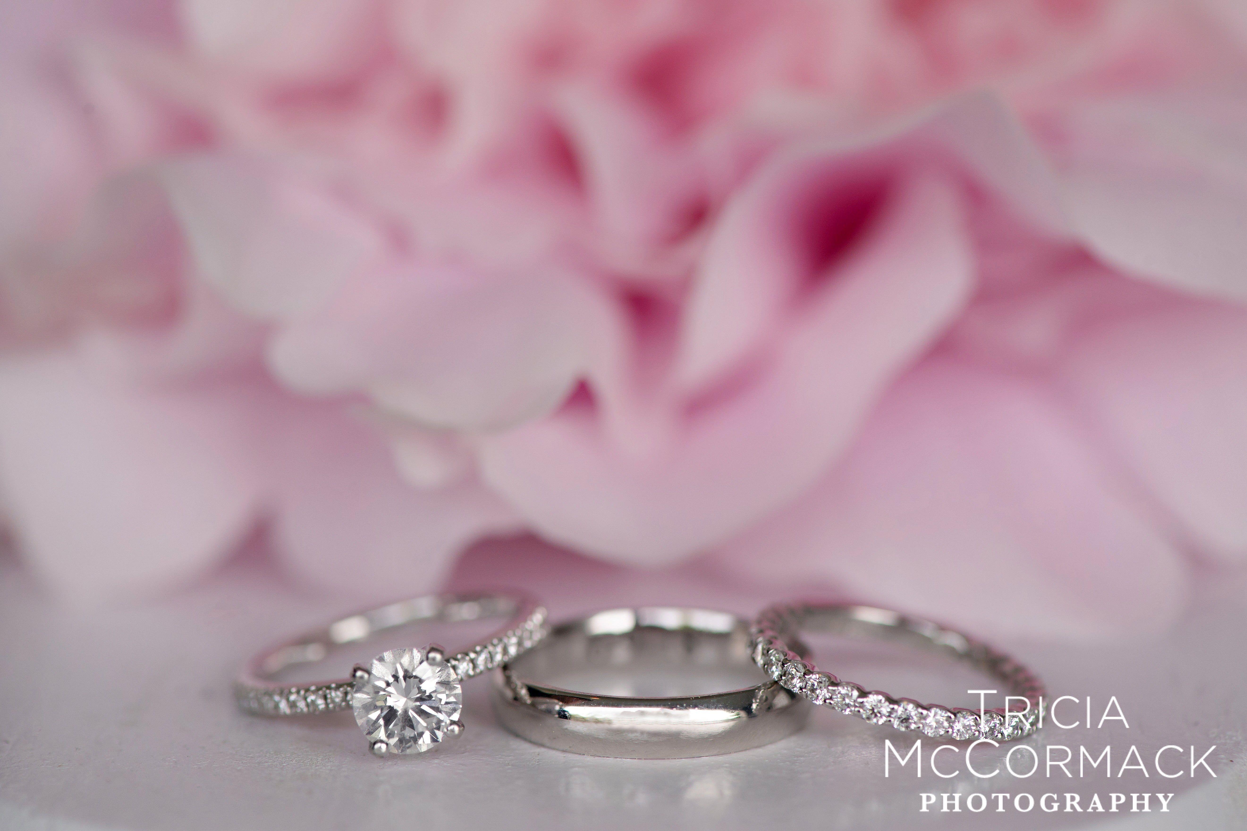 Elegant and classic engagement rings. Wedding day. Wedding ...