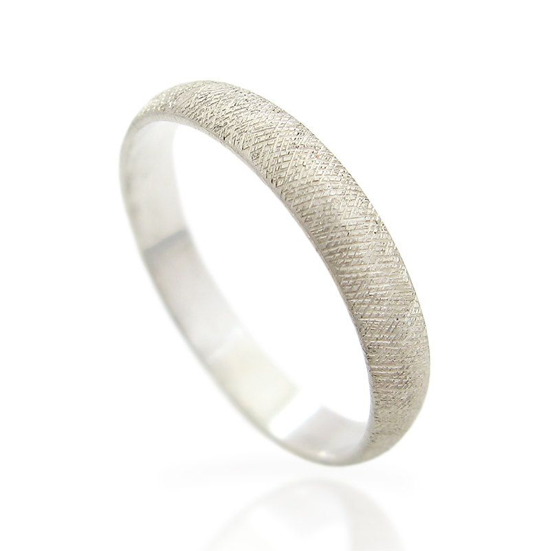 Textured Mens Wedding Band White Gold Ring For Men Personalized