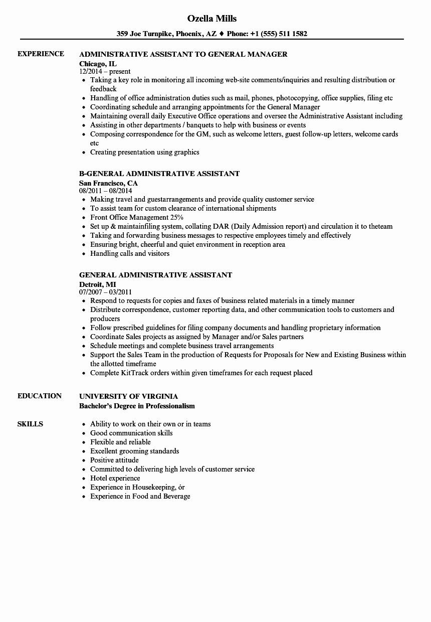Assistant General Manager Resume Awesome General Fice Assistant Resume Sample